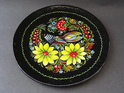 Vintage Paper Mache Lacquer Hand Painted Russian Wall Plate Bird Floral Design