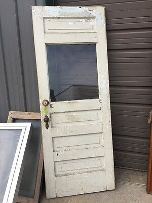 An 48 Half View Antique Raised Panel Farm Door 29 0.625 X 77.75