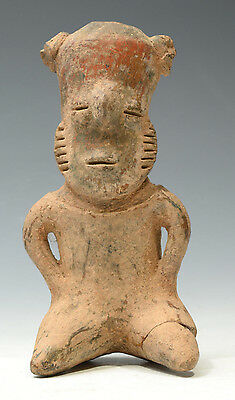 Pre Columbian West Mexico Nayarit Sitting Figure 200 BC to 400 AD tall 6.7''