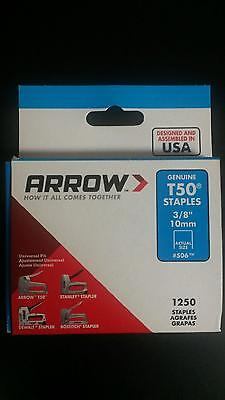 "Arrow T50 ""genuine"" Staples 3/8"" 1250 Pack #506 Brand New"