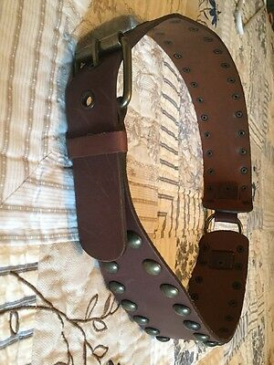 Women's Genuine Leather Belt From Italy, Studded, Size M