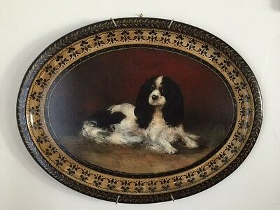 19th C Paper Mache Tole Tray King Charles Spaniel