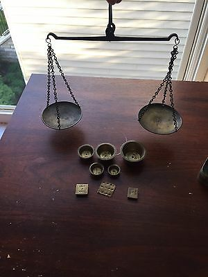 Antique Balance Scale, Apothecary Scale For Jewelry, Gold, Opium With Weights