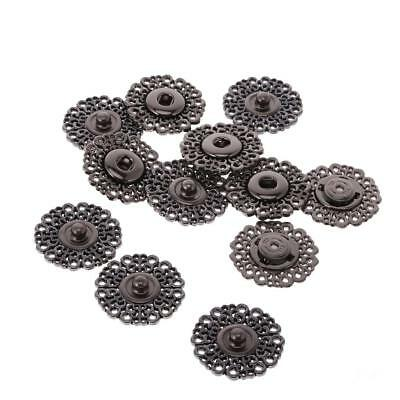 6 Sets Press Studs Snap Fasteners Black Metal Invisible Buckles DIY Bags
