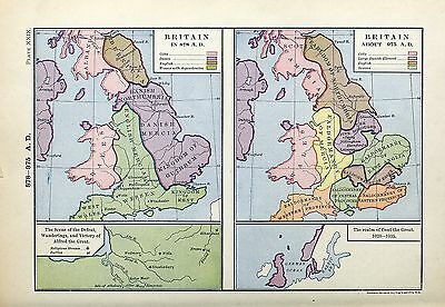 1905 map Britain 878 AD Scene Defeat Werings Victory Alfred Great Britain 975 29