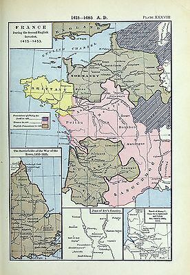 1905 map France during Second English Invasion Philip Good Joan Arc War Roses 38