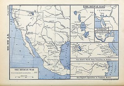 1905 map Five Maps Mexican War Mexico Boundary before Annexation Texas 69