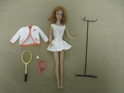 Vintage Barbie American Girl Titian Redhead Doll w Stand & Tennis Outfit