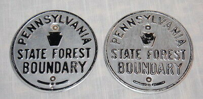 LOT Of 2 Vintage PENNSYLVANIA STATE FOREST BOUNDARY Metal SIGN Marker