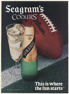 1988 Seagram's Coolers This is Where the Fun Starts Football Print Ad