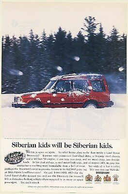 1997 Land Rover Discovery Siberian Kids Throw Snowballs Winter Print Ad