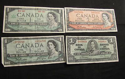 Lot of 4 Canada Notes - 1937 $1, 1954 $1, 1954 $2, 1967 $1