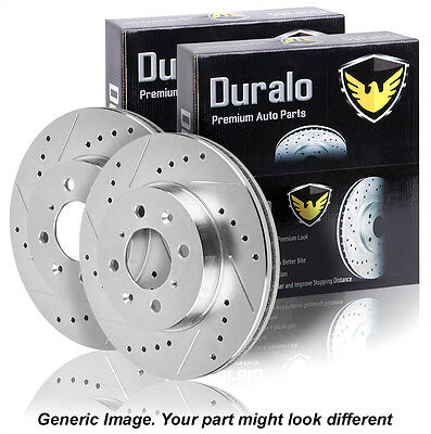 Pair New Duralo Premium Performance Drilled And Slotted Front Brake Disc Rotors