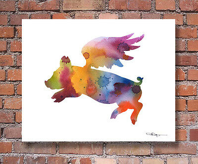 FLYING PIG Contemporary Watercolor Abstract ART Print by Artist DJR