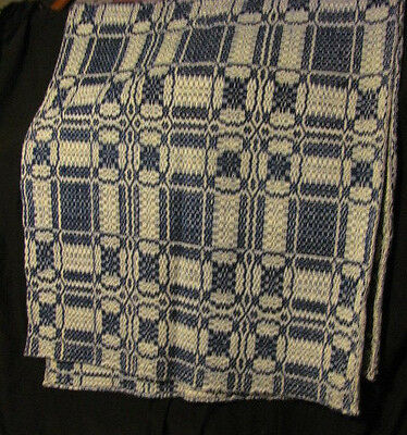 """Antique Linsey Woolsey Coverlet Overshot Woven Blue Wool & White Cotton 68""""x78"""""""