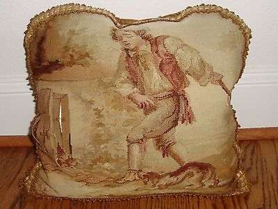 """Antique 19th French Aubusson Tapestry Fragment Made into 14"""" Pillow Down Fill"""