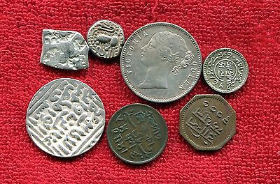 India Lot Of 7 Coins 5 Silver 3 Ancient Silver Cheap Nr 25.00