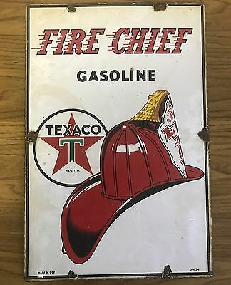 "Vintage Texaco Fire Chief Gas porcelain sign metal garage station 1954 18"" x 12"""
