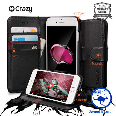 Crazy Leather Wallet Case for iPhone 7 8 Magnetic Card Holder Flip Cover