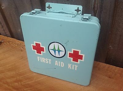 First Aid Kit vintage metal BC HYDRO Canada wallmount