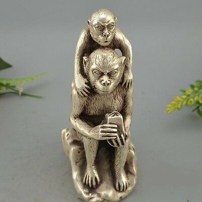 Chinese Old Silver Wealth Animal Monkey  Monkey Imperial Jade Seal Statue