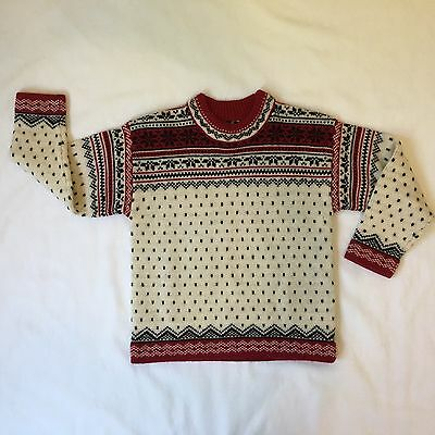 Lands End Nordic Sweater 100% Wool Youth 8 (small) crew neck navy blue red cream