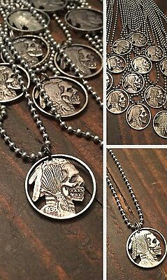 hand carved skull cutout coin pendant hobo nickel necklace Harley Kershaw