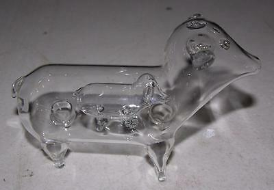 "Rare Vtg Blown Glass Pig Inside Pig 5""  Figure Clear Glass, Really Cool"