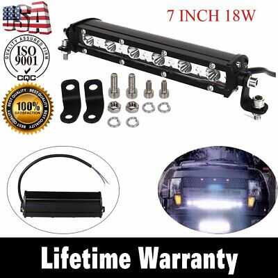 New LED Light 7 inch 18W Bar Spot OFFROAD FOG DRIVING LAMP 4WD SUV ATV 1800LM US