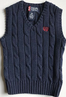 Chaps Baby Boys Navy Blue Sleeveless Cotton Sweater Vest Size 18 Months