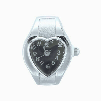 B9 Watch Quartz Movement Ring Alloy Heart Black Deco Woman U3G6