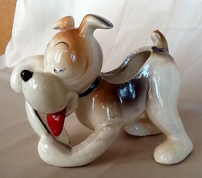 Vintage Orion Ceramic Puppy Dog Licking Plate Funny Figurine Planter Japan