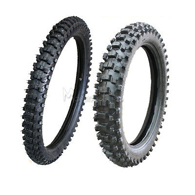 """Knobby Tyre + Tube 80/100-21"""" Front + 110/90-18 Inch Rear Dirt Off Road Pit Bike"""