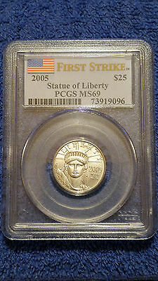 2005 $25 (1/4 oz) American Statue of Liberty Platinum- PCGS MS69 FIRST STRIKE