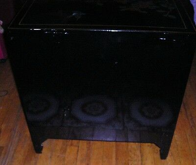 Vintage Black Lacquer Chinese Cabinet With Appliques Inlays. Local Pick Up Only
