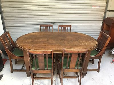 Vintage English Oak Table & 6 Chairs