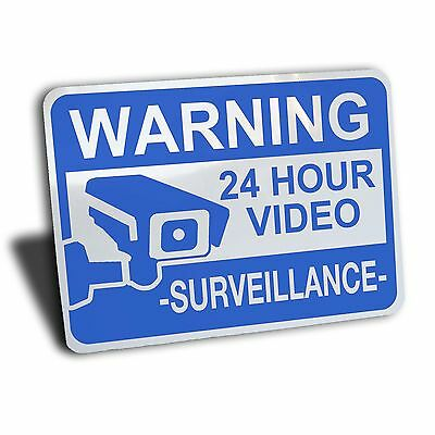 Warning Notice 24 Hour Video Surveillance Sign Aluminum Metal Security Camera Tv