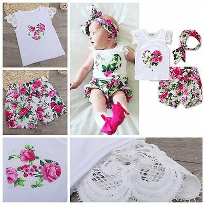 3pcs Kids Toddler Baby Girls Infant Top+Pant+Headband Outfit Costume Cloth