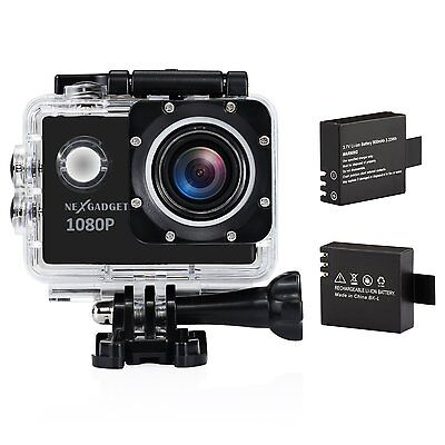 1080p HD Action Sports Camera 1.5 Inch Screen Waterproof Case 30m & 2 Batteries
