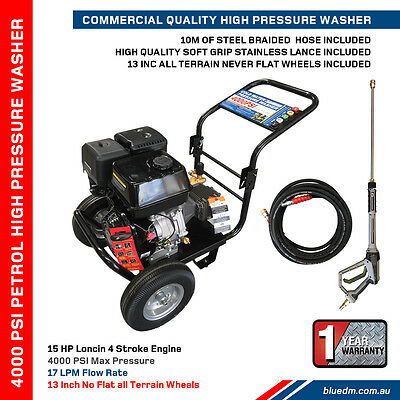 HIGH PRESSURE / POWER WASHER - PETROL - 4000 PSI - 15Hp