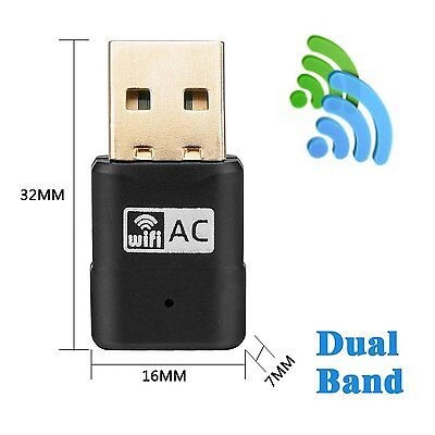 WiFi Dual Band USB Adapter AC 5G 600Mbps Network Dongle 2.4GHz 150Mbps/5GHz 433m