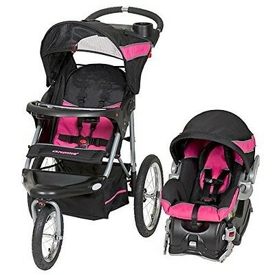 Baby Trend Expedition Jogger Travel System 3 in 1 Stroller Car Seat Bubblegum