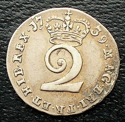 British - 1739 George II  Two Pence  Silver Maundy coin