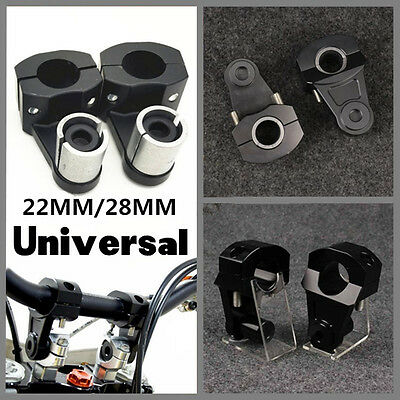 "Universal Aluminum 7/8"" 22mm Motorcycle HandleBar Handle Bar Mount Clamps Riser"
