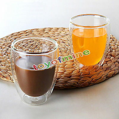 250/350ml Double Wall Glass Tea Coffee Cup Heat-resistant Double Layer Glass