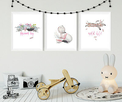 Set of 3-A4 Nursery or Bedroom Wall Art Prints- Boho Baby Bird