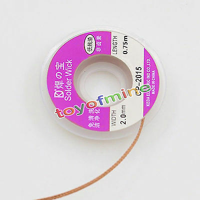 0.75m 5ft 2.0 mm Desoldering Braid Solder Remover Wick Copper Spool Wire