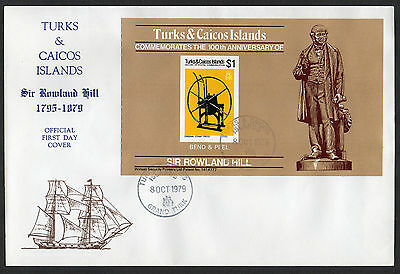 Turks & Caicos Is. - 1979, Rowland Hill Death Centenary, FDC (Booklet M/S)