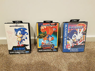 sega megadrive console game SONIC 1,2AND 3 SET COMPLETE
