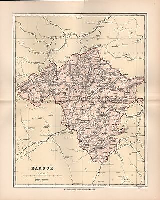 1895 Antique County Map-Wales - Radnor Presteign Rhayadergwy